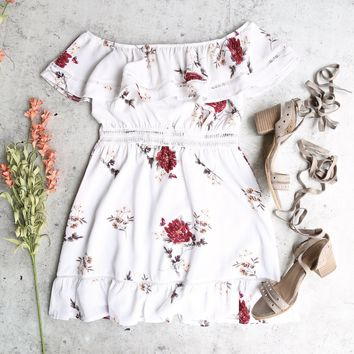 floral off the shoulder strapless mini dress