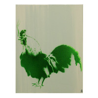 Chicken Painting Cock Art 9 x 12 THE COCKSMOKER Rooster Art Audubon Stencil Art Farm Chic Cottage Chic Spray Paint Acrylic Original Artwork