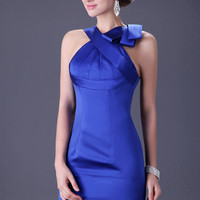 Blue Halter Cross Pleated Front  Bodycon Evening Dress