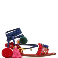 Pompom-embellished leather flat sandals | Dolce & Gabbana | MATCHESFASHION.COM US