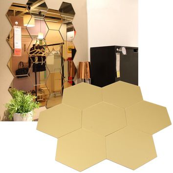 7 X Crystal Mirror Stickers Stereo Mirror 3D Wall Stickers Decoration Eco-friendly Wall Honeycomb Hexagon Decor