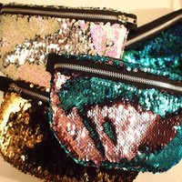 21 Colors Available - Black Micro-Chenille Lining - Mermaid Scale Shiny Reversible-Sequin Fanny Pack