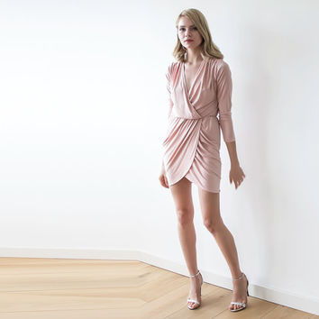Wrap pink blush mini dress ,Short dress with long sleeves