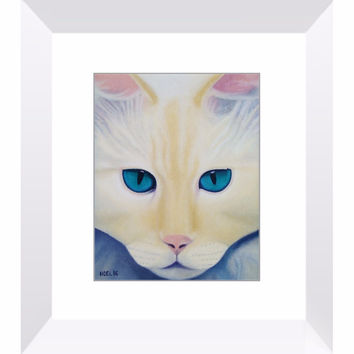 I See Into You - Framed Print of Cat Acrylic Paint Fine Art
