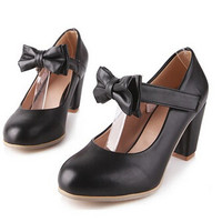 Hot Mary Janes Buckle Strap Low Heel Pumps Womens Lolita Bowknot Shoes Siz Sweet Bow Thick Heel Casual Career Work Shoes Alternative Measures
