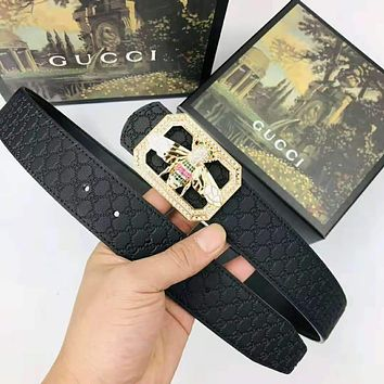 GUCCI Newest Fashionable Woman Men Delicate Bee Diamond Buckle Leather Belt