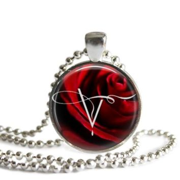 The Vampire Diaries Red Rose 1 Inch Silver Plated Pendant Necklace Handmade