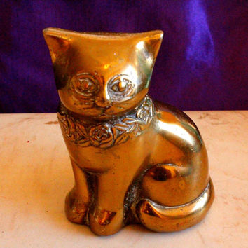 Charming Vintage Seiden Brass and Giftware Brass Cat Figurine made in Korea