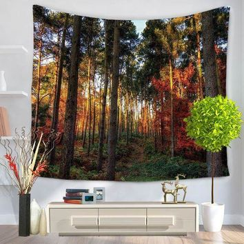 MDIG9GW Home Decorative Wall Hanging Carpet Tapestry 130x150cm Rectangle Bedspread Forest Scenic Sun Tress Pattern GT1036