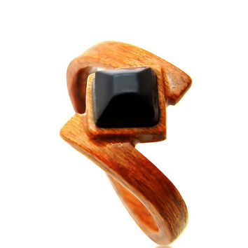 Hand Carved Wood Black Onyx Ring - Wood Ring - Bentwood Ring - Wood Jewelry - Rings - Jewelry - Engagement Ring - Gemstone - Gift - For Her