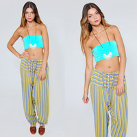 Vintage 90s HAREM Pants Blue & Green STRIPED Print Relaxed Indian Trouser Sarouel Jodpher
