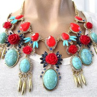 Molded Red Rose Faux Turquoise Festoon Necklace