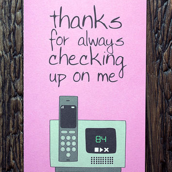 Smothers Day Card Funny Pink Mothers' Day Telephone Overprotective
