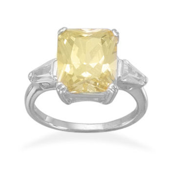Bridal Ring Rhodium Plated Yellow CZ Ring with Baguettes