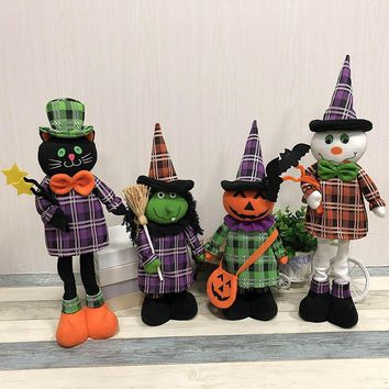 Halloween Decoration Telescopic Doll Figurines For Party Wedding Christmas Holiday Decor Pumpkin Witch Cat Dolls Gift For Kids