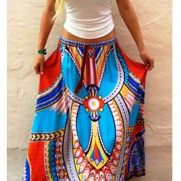Blue Trible African Print Tassel Drawstring High Waisted Bohemian Skirt
