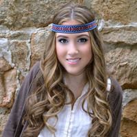Cobalt Hippie Head band- bohemian hair band