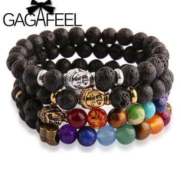 GAGAFEEL Buddha beads Bracelets Bangles Lava Stone Bracelets For Women and Men Fine Jewelry 2017 Bracciali lava pulseiras