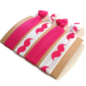 Elastic Hair Ties Hot Pink and White Mustache Yoga Hair Bands