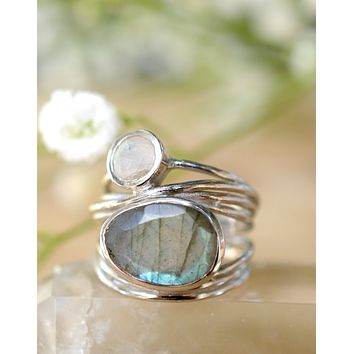 Bruna Silver Plated Ring - Labradorite & Moonstone (BJR100)