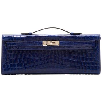 Hermes Electric Blue Kelly Cut Clutch