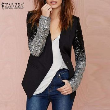 DCCKWQA New Zanzea 2016 Autumn Women Jacket Coat Work Blazers Suit Long Sleeve Lapel Silver Black Sequins Elegant Ladies Blazer feminino