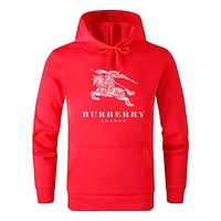 Burberry Autumn And Winter New Fashion Letter War Horse Print Women Men Hooded Long Sleeve Sweater Red
