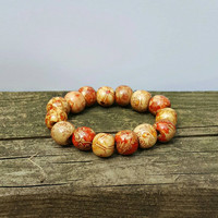 Wooden Beaded Bracelet - Boho Bracelet - Wood Bracelet - Bead Bracelet - Red - Brown - Fashion -