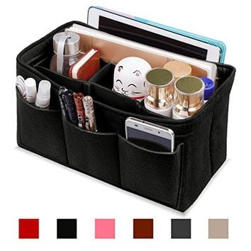 Felt Purse Insert Organizer, Handbag organizer, Bag in Bag for Handbag Purse Tote, Diaper Bag Organizer, Stand on Its Own, 12 Compartments, 3 Sizes (Medium, Black)