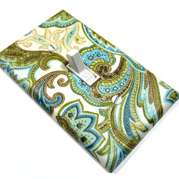 Blue Brown Paisley Light Switch Cover Cottage Chic Home Decor Switch Plate