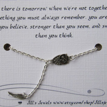Tiny Owl and Angel Wing Necklace and Friendship Pooh Quote Inspirational Card- Bridesmaids Gift - Friends Forever - Quote Gift