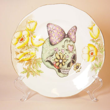 Vintage Butter Plate with a Sugar Skull Illustration by Little Lala