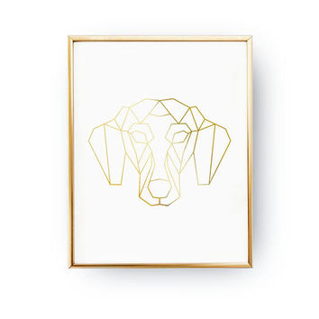 Dachshund Print, Geometric Dachshund, Dog Poster, Real Gold Foil Print, Home Decor, Pet Gift, Animal Poster, Pet Decor, Animal Lover,Dog Art