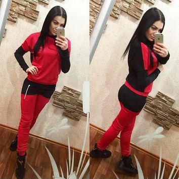 Red Color Block Zipper 2-in-1 Casual Long Jumpsuit