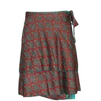 Magic Short Wraps Skirt Maroon Printed Premium Silk Blend Reversible Wrap Around Skirts