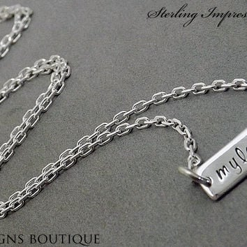 Horizontal Bar Necklace - Personalized Jewelry - Sterling Impressions Engraved Bar Necklace