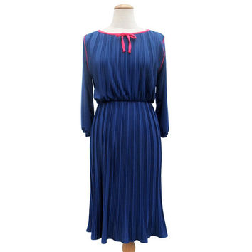 Vintage 80s Dress Navy Blue Magenta Crystal Pleat Stretch Knit Dress size Medium