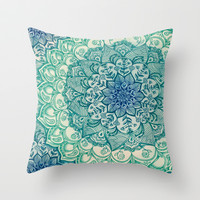 Emerald Doodle Throw Pillow by Micklyn