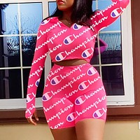 Champion New fashion more letter print long sleeve top and shorts two piece suit