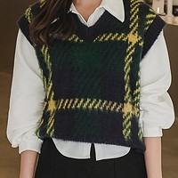 Warm Plaid Knit Vest