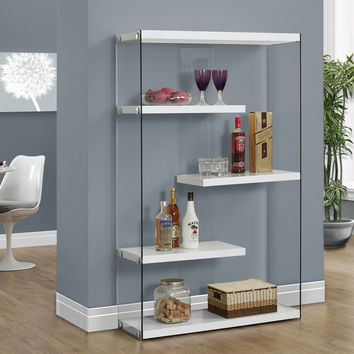"""Glossy White Hollow-Core/Tempered Glass 60""""H Bookcase"""