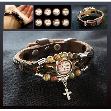 The Lord Is My Shepherd Bracelet, Christian Jewelry, Cross Bracelet