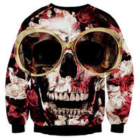 New Arrivals Hip Hop Hoodies Men Women Sweatshirts 3d Print Glasses Roses Skull Unisex Pullovers Bra