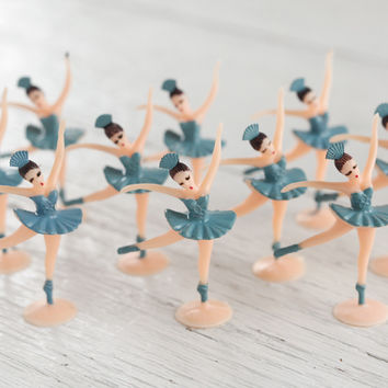 Miniature Ballerina Figures - 10 Tiny Blue Ballet Dancer Craft Figurines