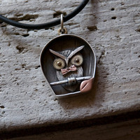 Owl ShadowBox necklace, sterling, gold, copper & watchparts