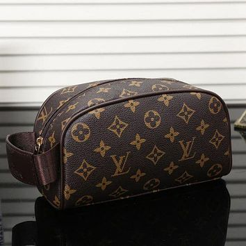 LV Louis Vuitton Womens Fashion Leather Shopping Cosmetic Bag F/A Brown Big Print