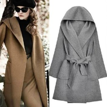 European Fashion Winter Hooded Long-Sleeved Cashmere Overcoats Bow Belt Mustard Yellow Cardigan Shawl Cape Wool Coat A19