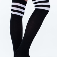 Stripe Out Sporty Thigh-High Socks