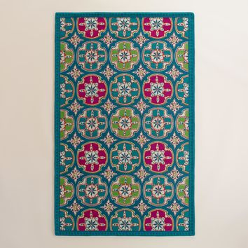 Blue and Fuchsia Cayman Tile Indoor Outdoor Rug
