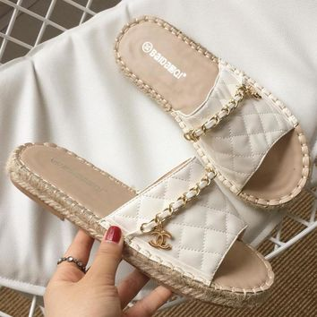 Chanel summer new style fashionable metal chain one - character slippers flat fish mouth cool drag women's shoes